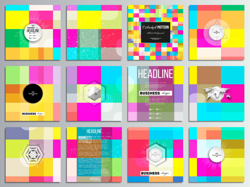 Set of 12 creative cards, square brochure template design. Abstract colorful business background, modern stylish vector vector illustration