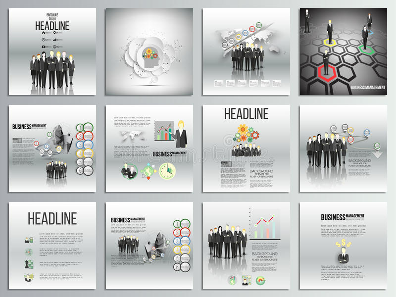 Set of 12 creative cards, square brochure template design, business backgrounds set. Team standing over gray background with timel vector illustration