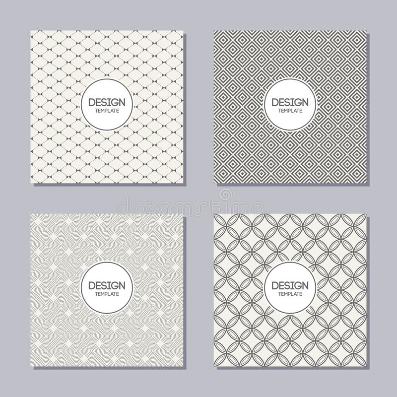 Set of 4 creative covers. Abstract geometric seamless patterns. stock illustration