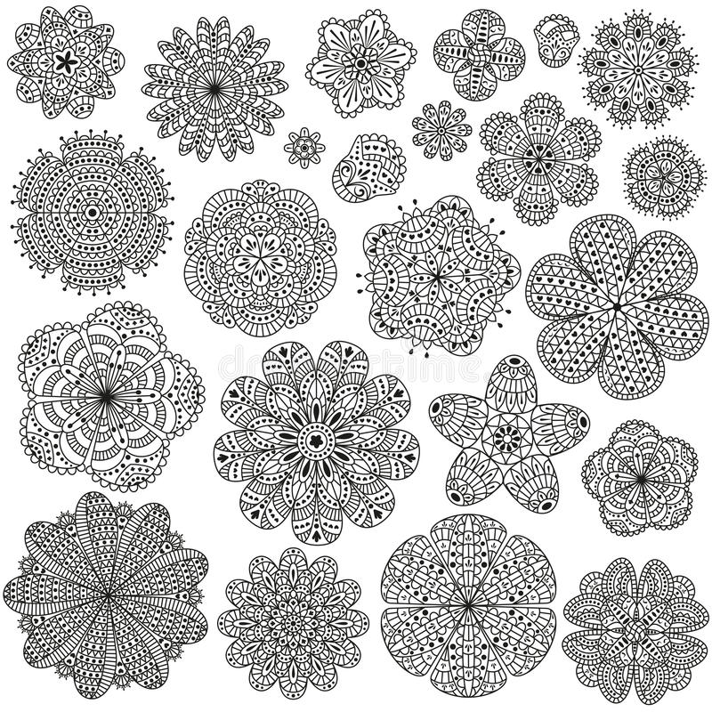 Set of creative flowers for your design. Romantic floral patterns. Black and white colors. stock illustration