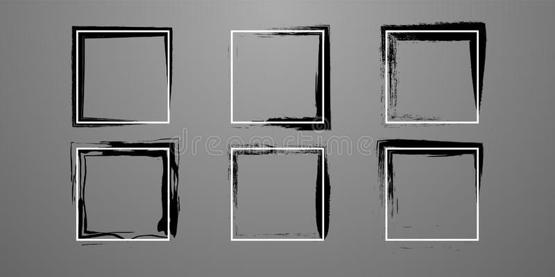 Set of creative frame straight and grunge royalty free illustration