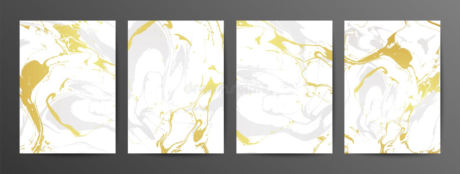 Set of creative gray and gold marble cards. Vector hand Drawn textures made with liquid ink. stock illustration