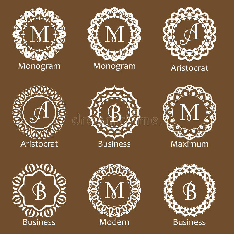 Set of creative monograms. Template ornament line design for business identity. Abstract emblems in vector.  royalty free illustration