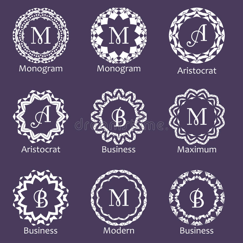 Set of creative monograms. Template ornament line design for business identity. Abstract emblems in vector.  vector illustration