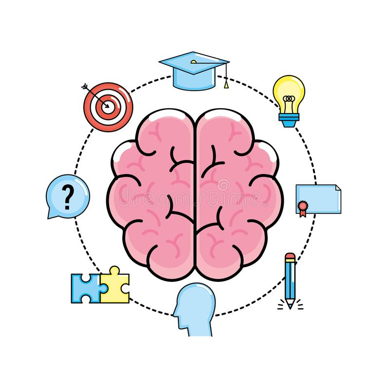Set creative process and brainstorm invention. Vector illustration stock illustration