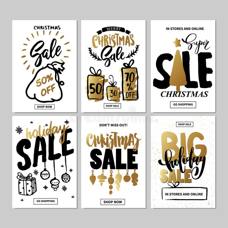 Set of creative sale holiday website banner templates. Christmas and New Year illustrations. Set of creative sale holiday website banner templates. Christmas stock illustration
