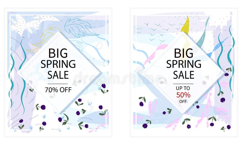Set of creative Social Media spring Sale headers or banners with discount offer. Design for seasonal clearance. It can stock illustration