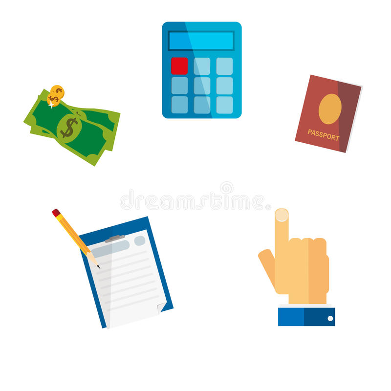 Set creative travel preparation icons. Vector illustration royalty free illustration