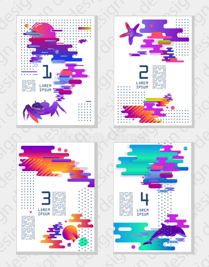 Set of creative universal abstract art posters in modern futuristic style with elements of marine fauna. Format A4, for printing,. Creative universal abstract stock illustration