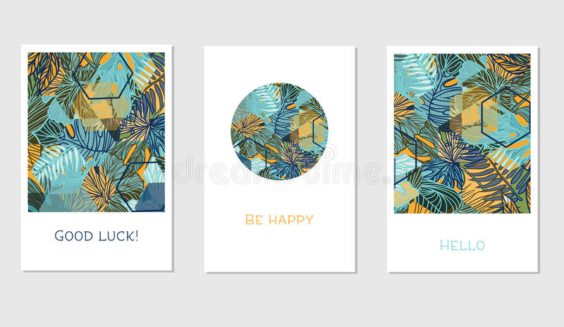 Set of creative universal floral cards in tropical style royalty free illustration