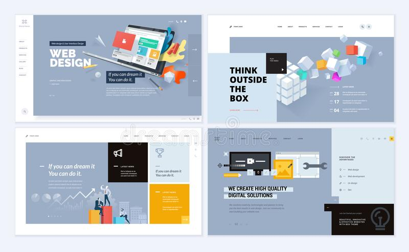 Set of creative website template designs royalty free illustration