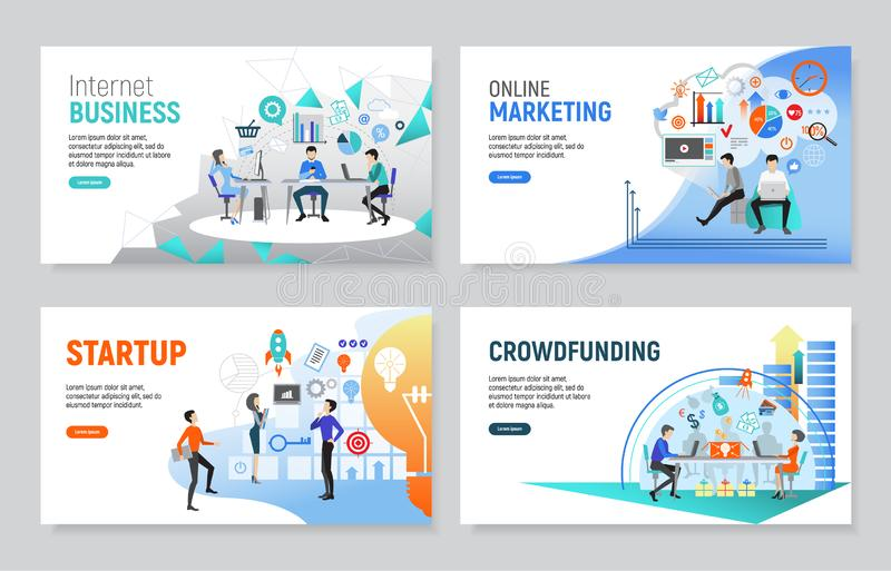 Set of creative website templates for internet business vector illustration