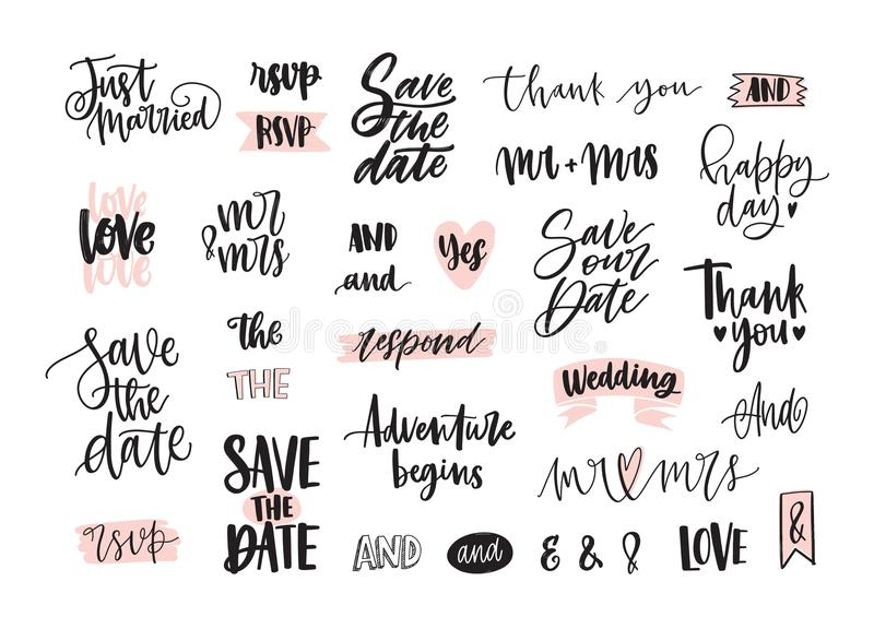Set of creative wedding lettering or inscriptions written with decorative calligraphic font. Bundle of phrases, words vector illustration