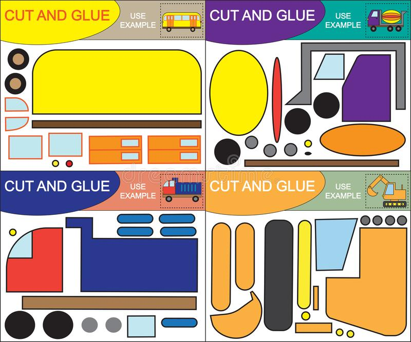 Set of creativity game for children. Create images of transport using scissors and glue. Vector illustration stock illustration