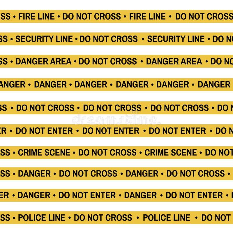 Set of Crime scene yellow tape, police line, danger, fire, Do Not Cross tape. Cartoon flat-style. Vector illustration royalty free illustration