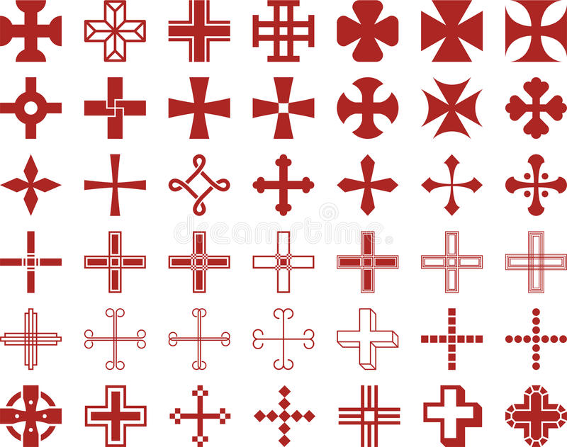 Set of cross signs royalty free illustration