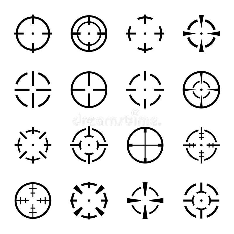 Set crosshair ikony na białym tle fotografia royalty free