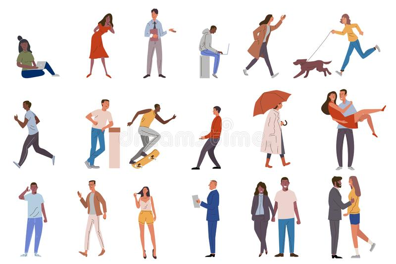 Set of crowd diverse people doing various leisure and job activities. Group of male and female flat cartoon isolated vector illustration