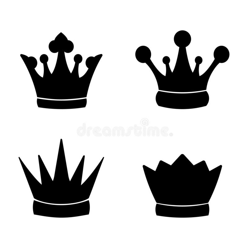 Set of Crown Icon in trendy flat style isolated on white background. Vector illustration stock illustration