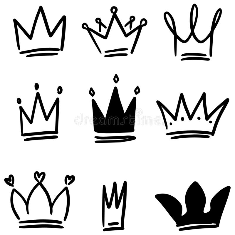 Set of crown illustrations in sketching style. Corona symbols. Tiara icons. Vector illustration royalty free illustration