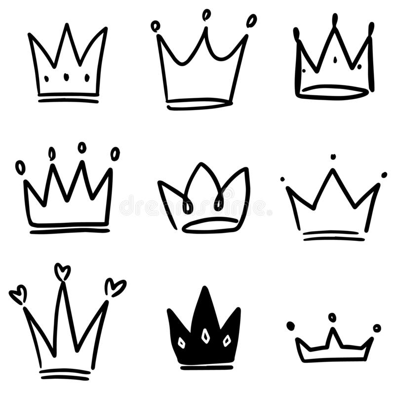 Set of crown illustrations in sketching style. Corona symbols. Tiara icons. Vector illustration vector illustration