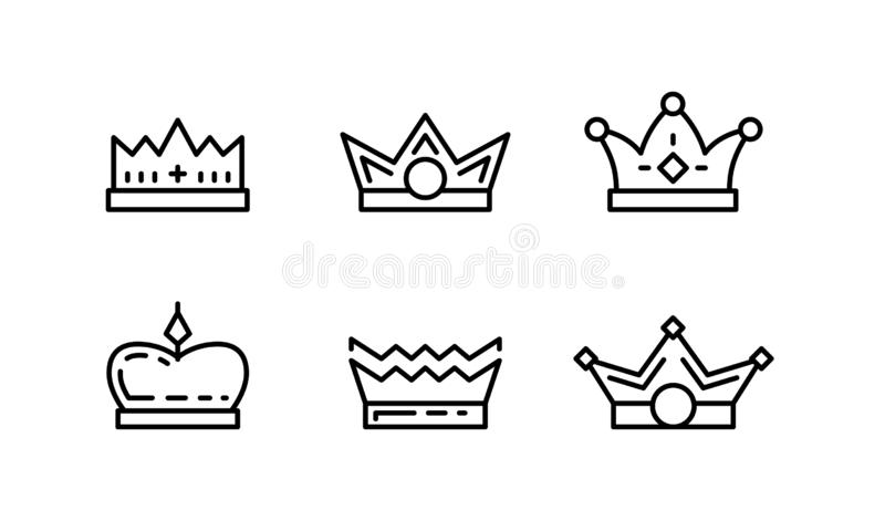 Set of crown line art vector icons vector illustration