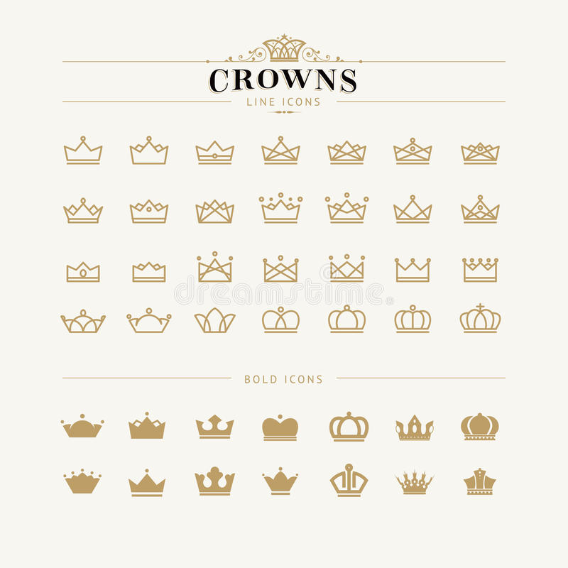 Set of crown line and bold icons. Set of crown icons