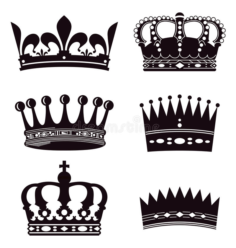 Set of crowns royalty free illustration