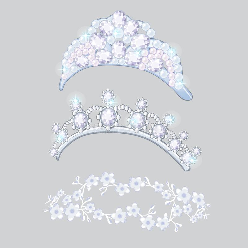 Set of crowns and wreaths on the brides head isolated on gray background. Jewelry wedding diamond jewelry. Vector. Cartoon vector illustration