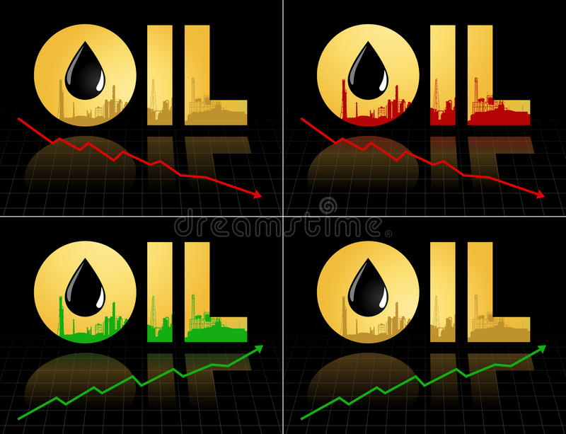 Set of crude oil price symbol with graph. Set of crude oil price fall down and increase, abstract illustration with refinery plant barrel and graph diagram royalty free illustration