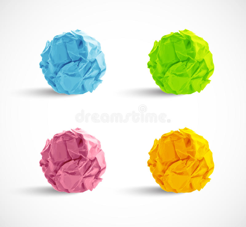 Set of crumpled paper balls stock illustration