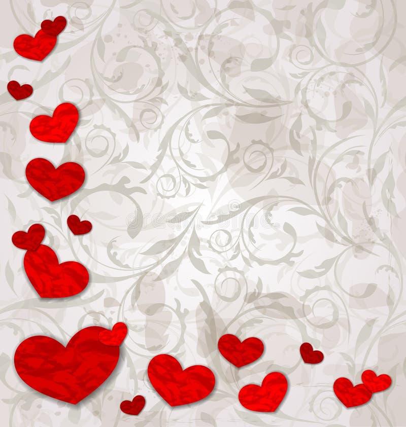 Set crumpled paper hearts on grunge floral backgro stock illustration