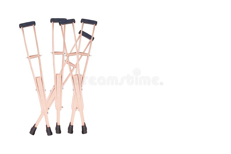 Elbow crutch, wooden crutch. Medical equipment. Isolated on white stock image