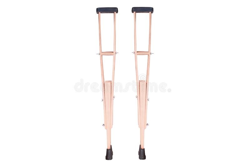 Elbow crutch, wooden crutch. Medical equipment. Isolated on white stock photos