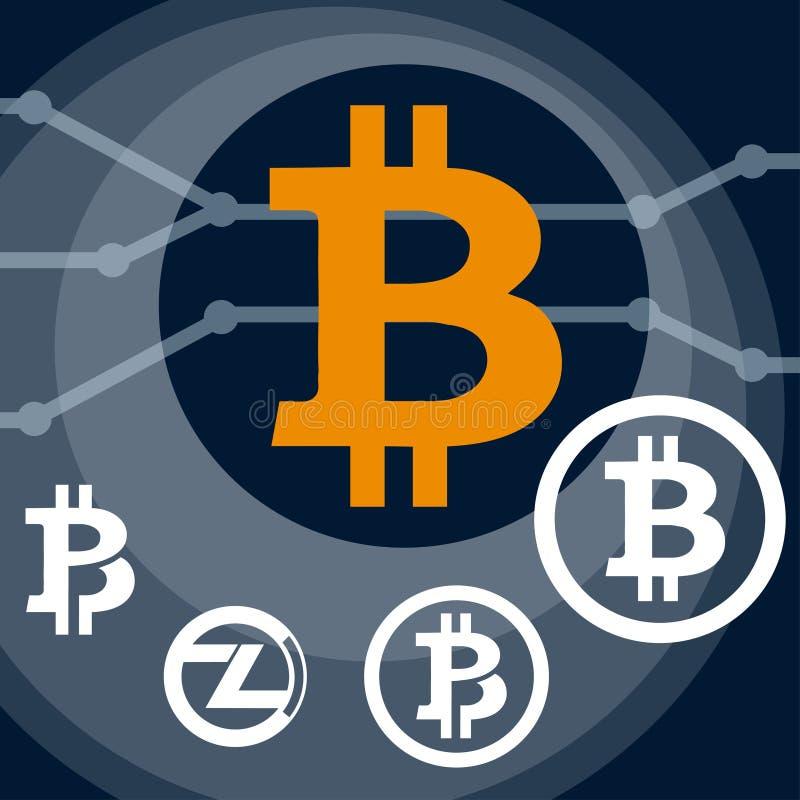 Set crypto waluty bitcoin symbol Cyfrowej waluta Internetowy pieniądze royalty ilustracja