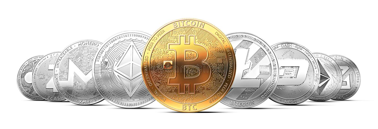 Set of cryptocurrencies with a golden bitcoin on the front as the most valuable. Set of cryptocurrencies with a golden bitcoin on the front as the leader royalty free illustration