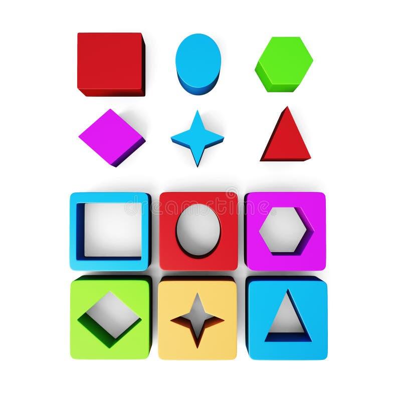 Set of cubes and geometric shapes on white background. royalty free illustration
