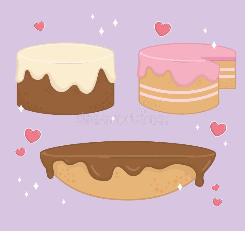 Set cukierki zasycha piekarni ikony ilustracja wektor