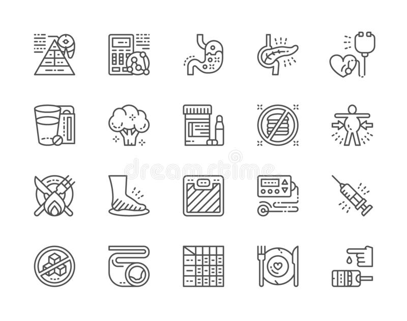 Set cukrzyc Kreskowe ikony Zgaga, elektrokardiogram, Glucometer i więcej, ilustracji