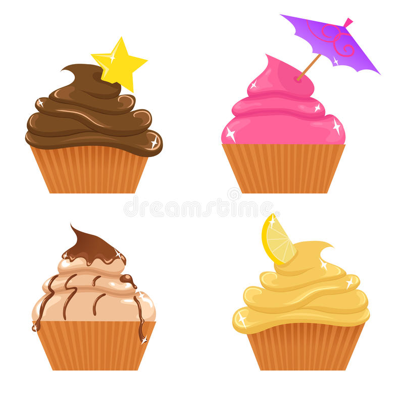 Set of cupcakes. Vector set of cute tasty cupcakes and shortcakes stock illustration
