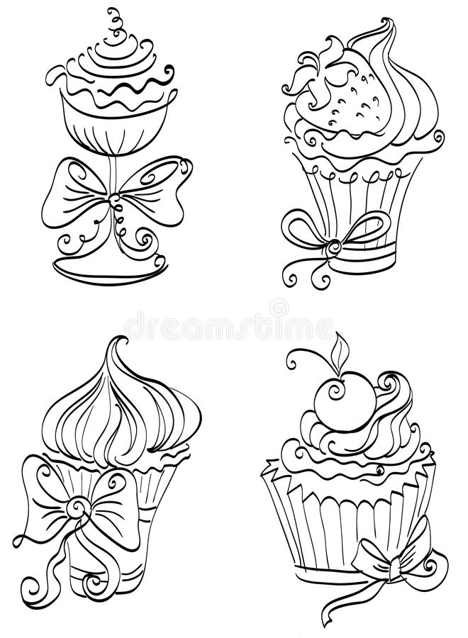 Download Set of cupcakes stock illustration. Illustration of chocolate - 29064857