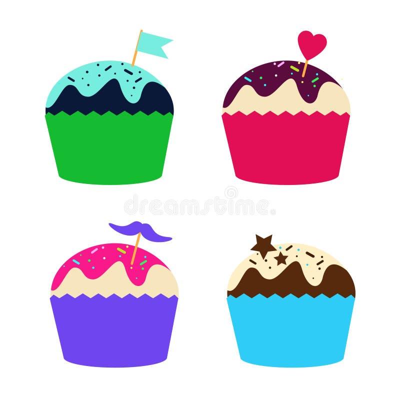 Set of cupcakes and muffins, illustration. Set of cupcakes and muffins, collection illustration royalty free illustration