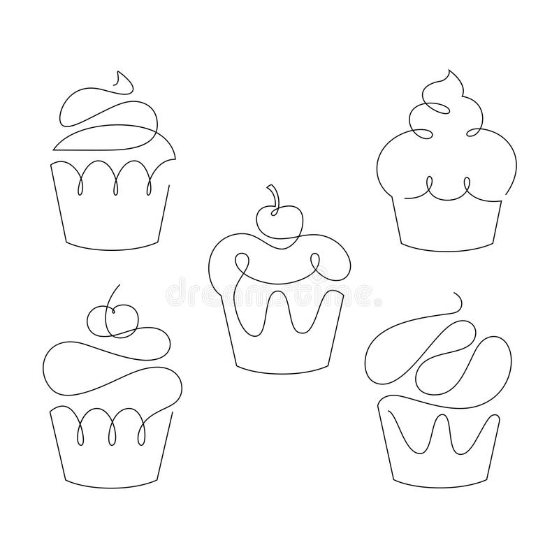 Set of cupcakes in trendy one line style. Vector. royalty free illustration