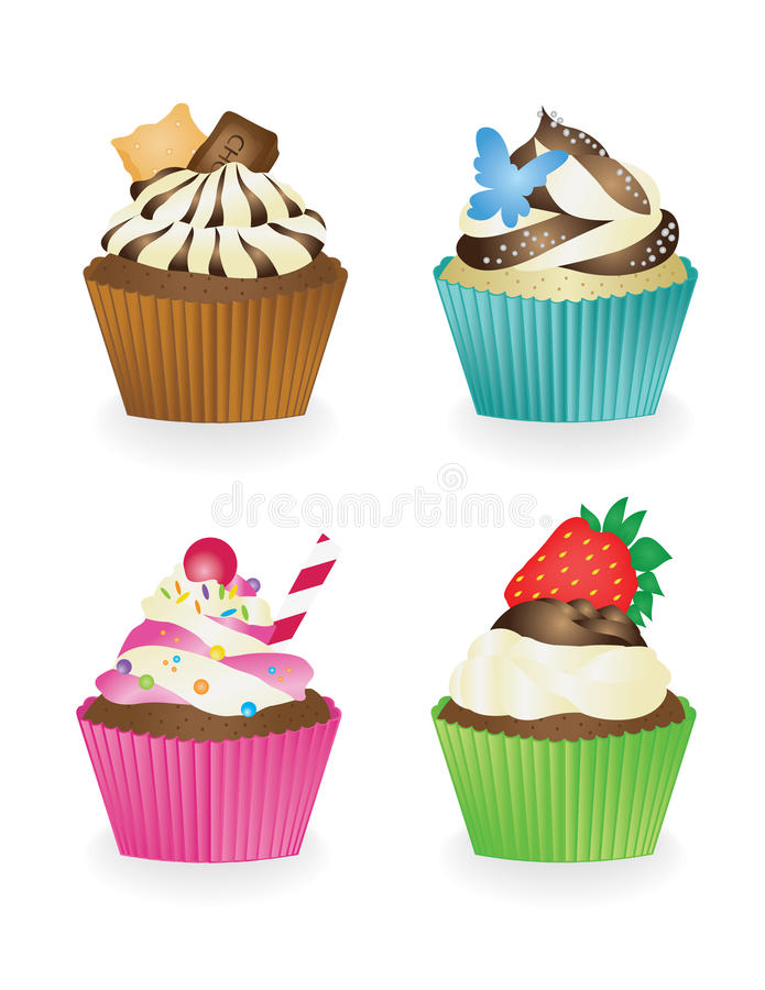 Set of cupcakes. Vector illustration of painted cupcakes stock illustration