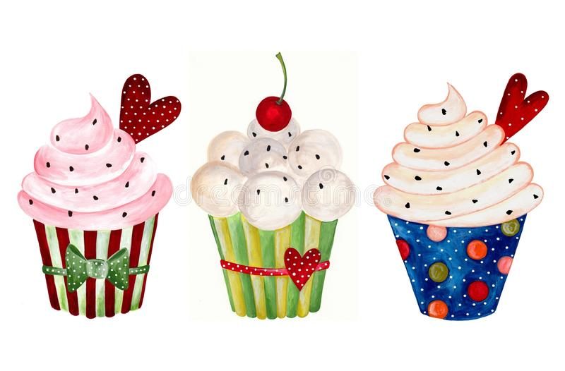 Download Set Of Cupcakes. Watercolors On Paper Royalty Free Stock Image - Image: 25152016