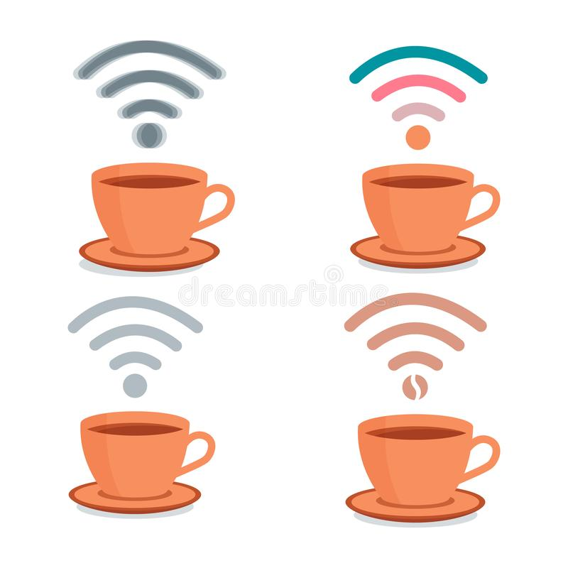 Set with cups of coffee and wifi symbol. royalty free illustration