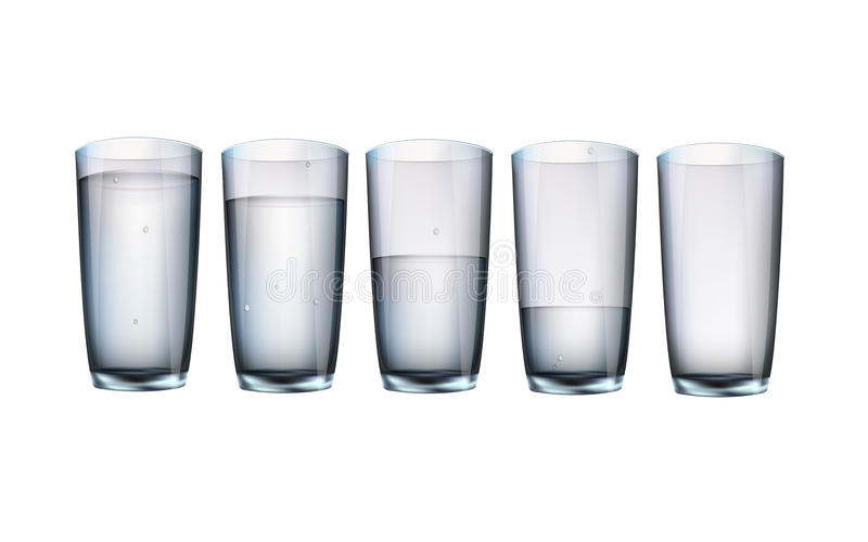 Set of cups of water with filling vector illustration