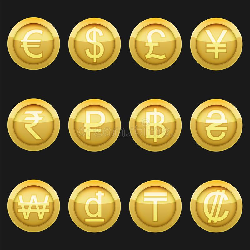 Currency coins symbols icons metallic golden with highlights set stock illustration