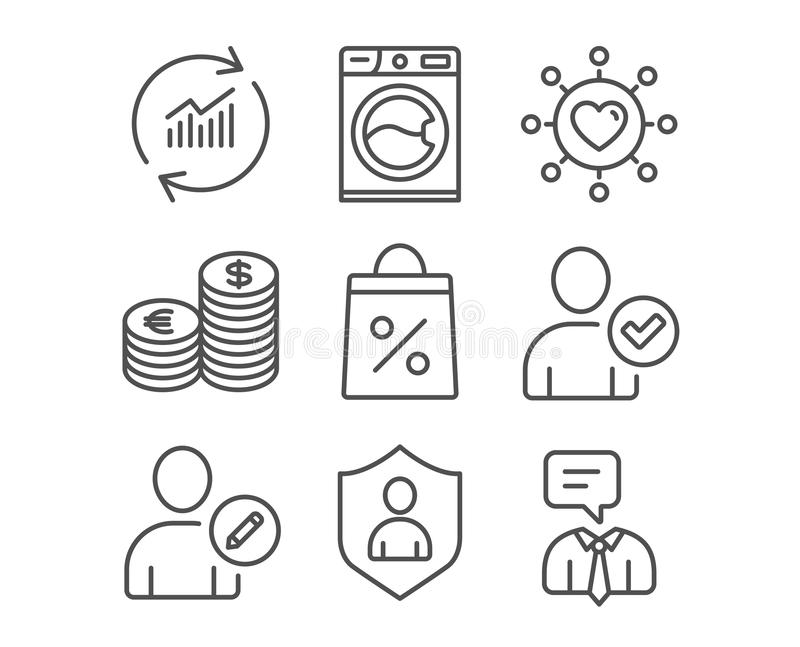 Currency, Edit user and Washing machine icons. Dating network, Security and Shopping bag signs. royalty free illustration