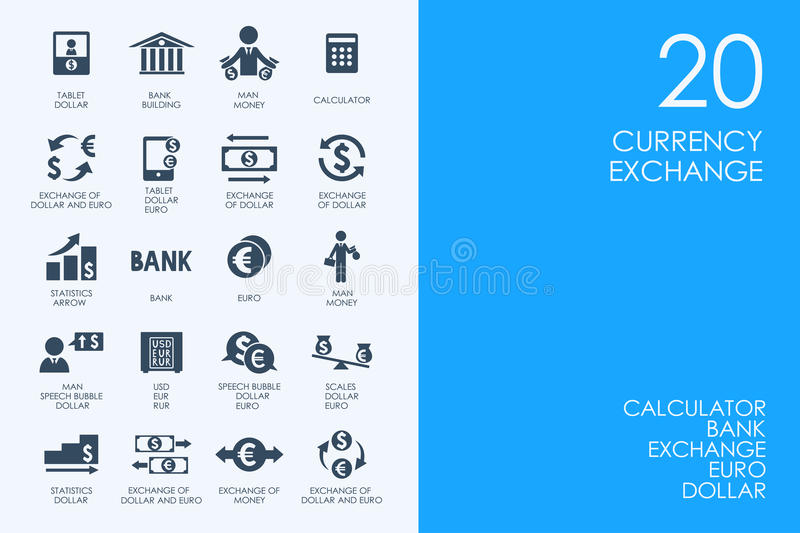 Set of currency exchange icons royalty free illustration